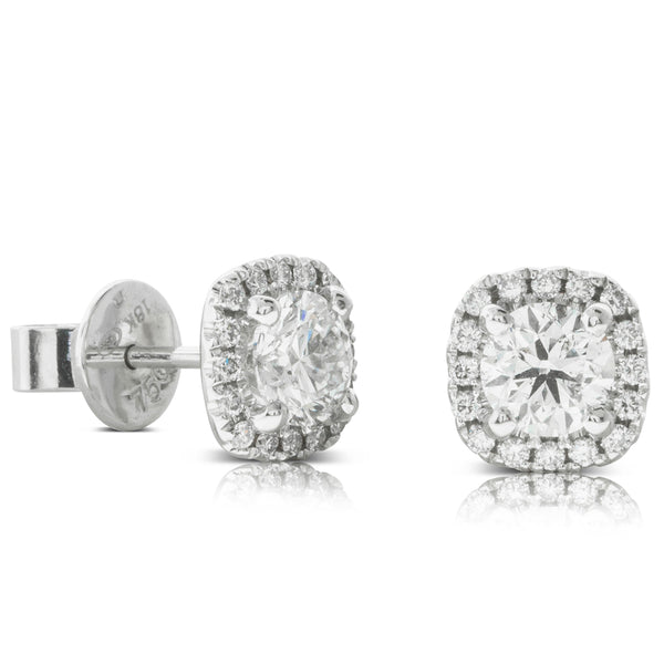 18ct White Gold 1.20ct Diamond Peony Earrings - Walker & Hall