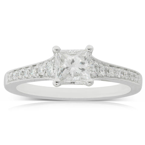 18ct White Gold .70ct Diamond Vantage Ring - Walker & Hall
