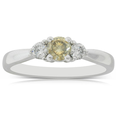 18ct White Gold .52ct Yellow Sapphire & Diamond Elysian Ring - Walker & Hall