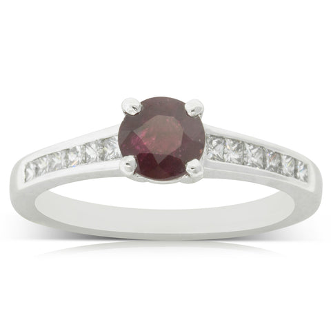 Platinum .98ct Ruby & Diamond Riviera Ring - Walker & Hall