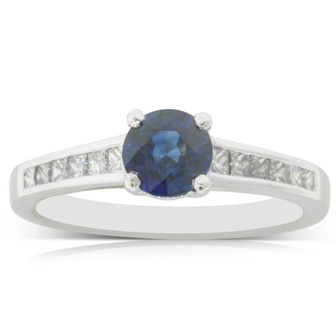Platinum 1.10ct Sapphire & Diamond Riviera Ring - Walker & Hall