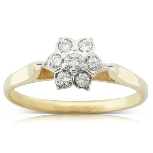 Deja Vu 18ct Yellow & White Gold .24ct Diamond Flower Ring - Walker & Hall