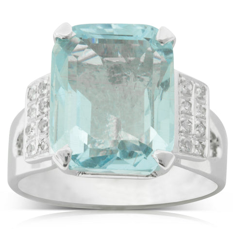Vintage 18ct White Gold 8.60ct Aquamarine & Diamond Ring - Walker & Hall