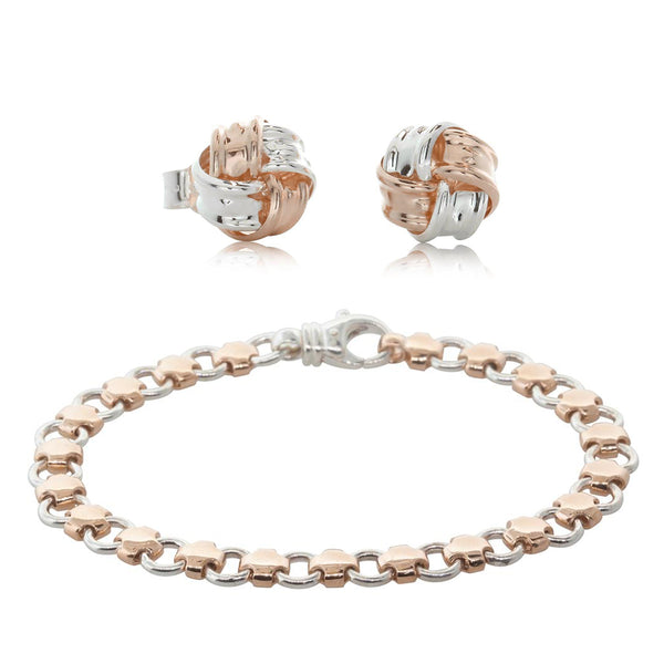 Gift Set - 9ct Rose Gold & Sterling Silver Swiss Cross Bracelet & Knot Studs - Walker & Hall