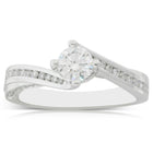18ct White Gold .50ct Diamond Helix Ring - Walker & Hall