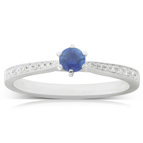 18ct White Gold .26ct Sapphire & Diamond Zenith Ring - Walker & Hall