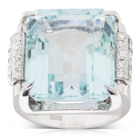 Vintage 18ct White Gold Aquamarine & Diamond Ring - Walker & Hall