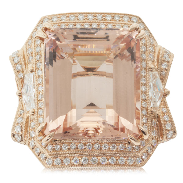 18ct Rose Gold 19.19ct Morganite & Diamond Halo Ring - Walker & Hall