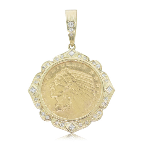 Vintage 18ct Yellow Gold US Indian Head 5 Dollar Coin Pendant - Walker & Hall