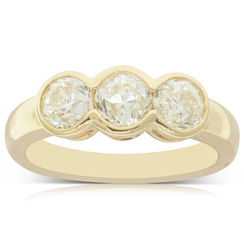 18ct Yellow Gold 1.81ct Diamond Three Stone Ring - Walker & Hall