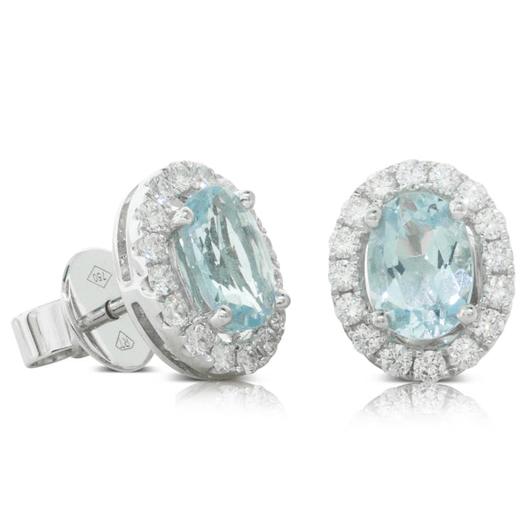 18ct White Gold 1.44ct Aquamarine & Diamond Halo Stud Earrings - Walker & Hall