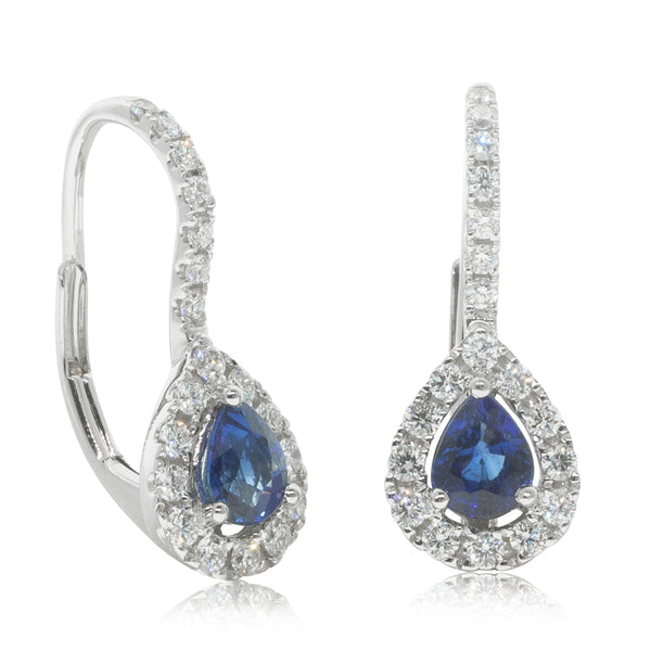 18ct White Gold .86ct Sapphire & Diamond Earrings - Walker & Hall