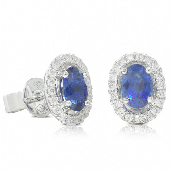 18ct White Gold 1.16ct Sapphire & Diamond Halo Stud Earrings - Walker & Hall