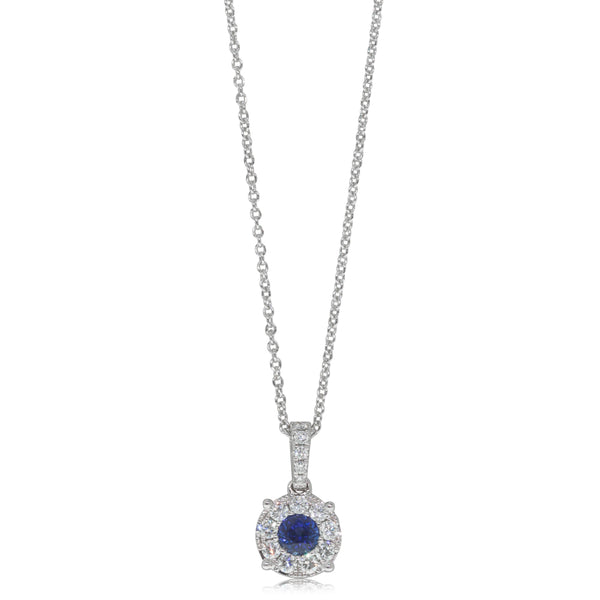 18ct White Gold .43ct Sapphire & Diamond Halo Pendant - Walker & Hall