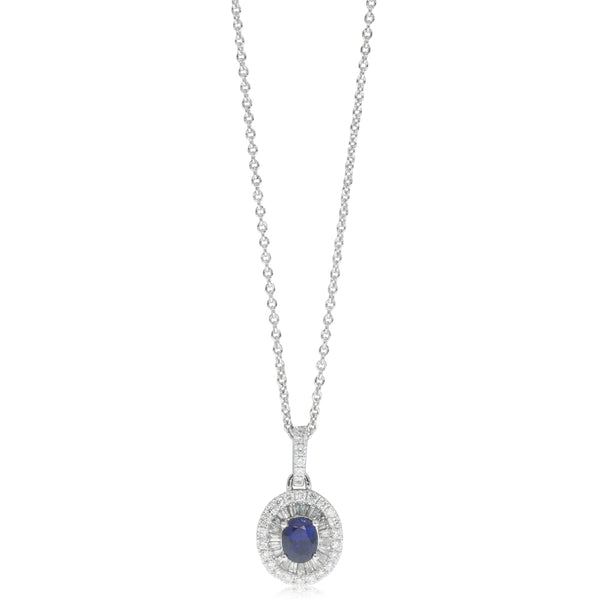 18ct White Gold .51ct Sapphire & Diamond Halo Pendant - Walker & Hall