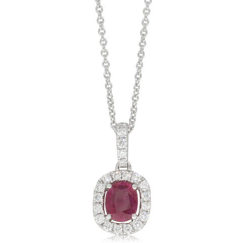 18ct White Gold .74ct Ruby & Diamond Halo Pendant - Walker & Hall
