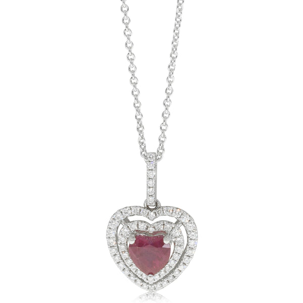 18ct White Gold 1.12ct Ruby & Diamond Heart Halo Pendant - Walker & Hall