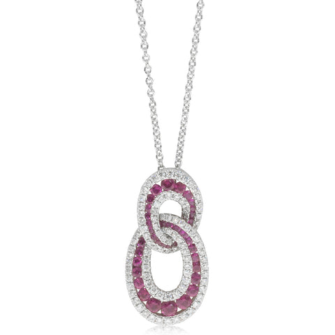 18ct White Gold .68ct Ruby & Diamond Pendant - Walker & Hall