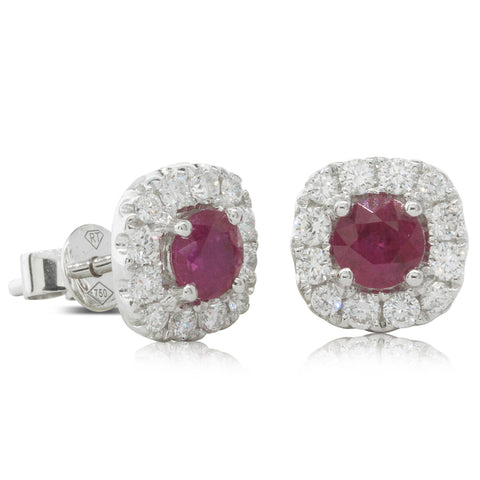 18ct White Gold .90ct Ruby & Diamond Halo Stud Earrings - Walker & Hall