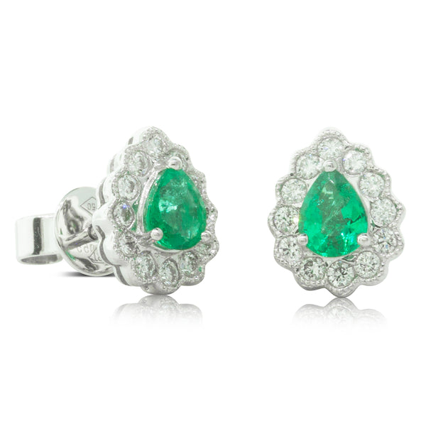 18ct White Gold .55ct Emerald & Diamond Halo Stud Earrings - Walker & Hall