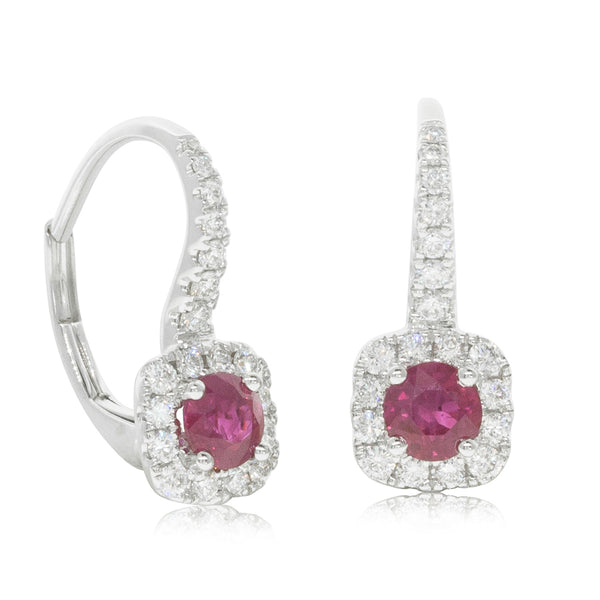 18ct White Gold .64ct Ruby & Diamond Earrings - Walker & Hall