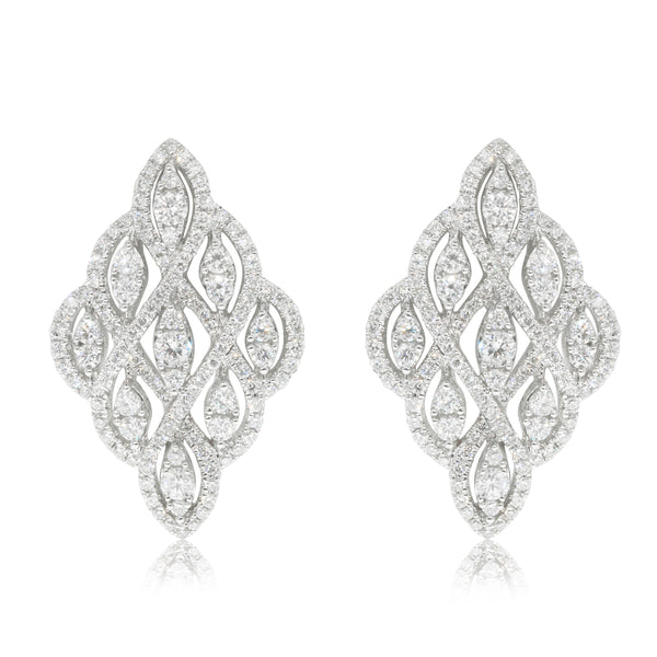 18ct White Gold 1.44ct Diamond Cluster Earrings - Walker & Hall