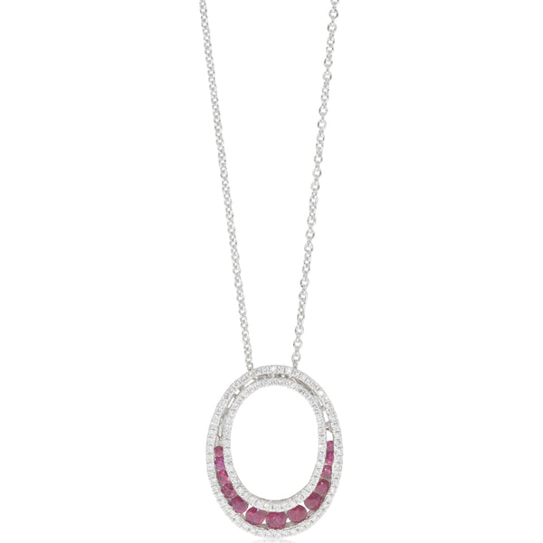 18ct White Gold .56ct Ruby & Diamond Pendant - Walker & Hall