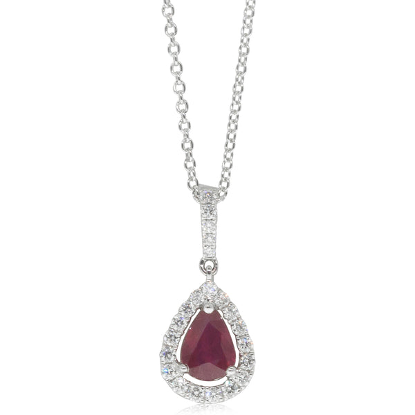 18ct White Gold .58ct Ruby & Diamond Halo Pendant - Walker & Hall