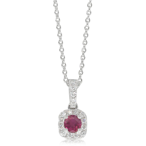 18ct White Gold .26ct Ruby & Diamond Halo Pendant - Walker & Hall
