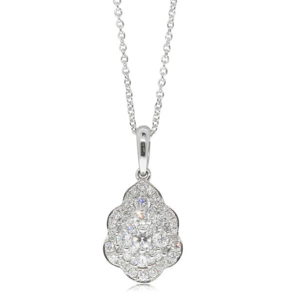 18ct White Gold .78ct Diamond Cluster Pendant - Walker & Hall