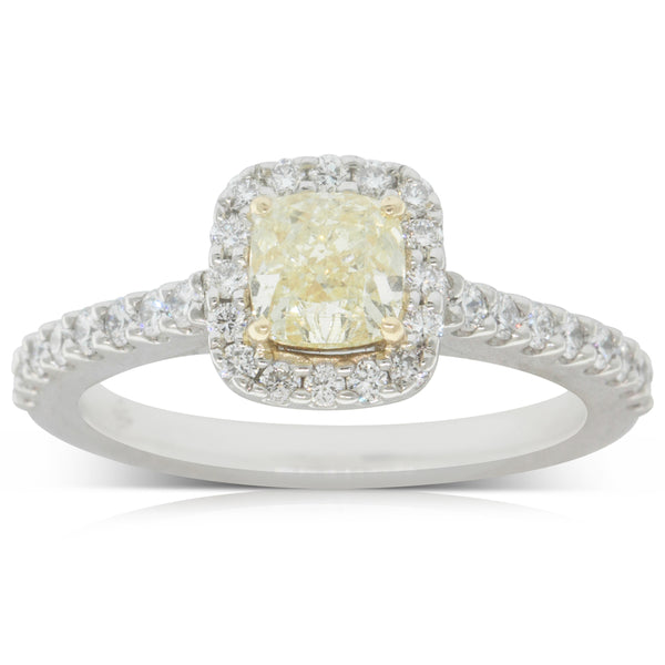 Deja Vu 18ct White Gold .70ct Yellow Diamond Halo Ring - Walker & Hall