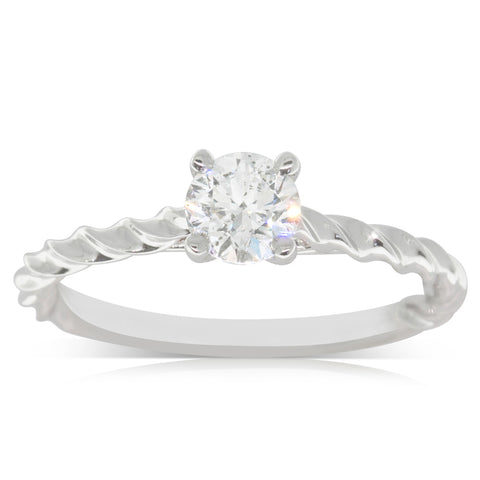 18ct White Gold .53ct Diamond Solitaire Ring - Walker & Hall