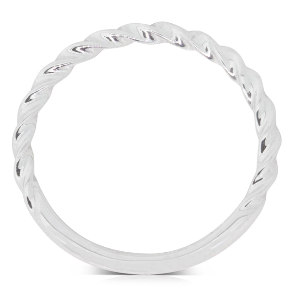 18ct White Gold Twisted Band - Walker & Hall