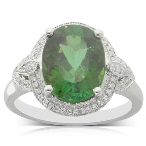 18ct White Gold 4.67ct Tourmaline & Diamond Halo Ring - Walker & Hall