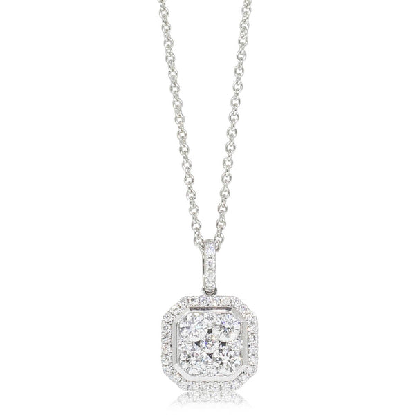 18ct White Gold .76ct Diamond Cluster Pendant - Walker & Hall