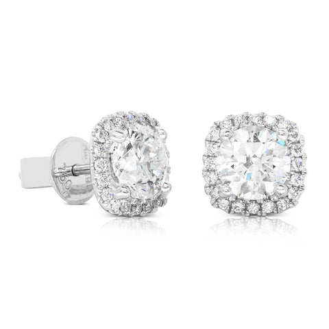 18ct White Gold 2.31ct Diamond Peony Stud Earrings - Walker & Hall