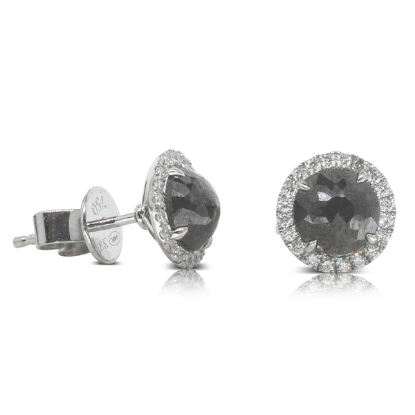 18ct White Gold 1.88ct Black Diamond Halo Stud Earrings - Walker & Hall