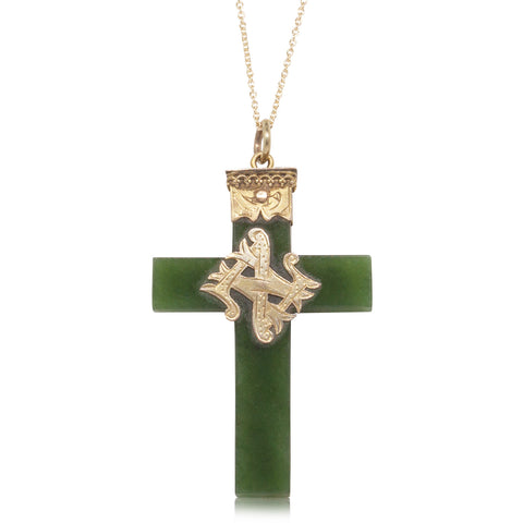 Vintage 9ct Yellow Gold NZ Greenstone Cross Pendant - Walker & Hall