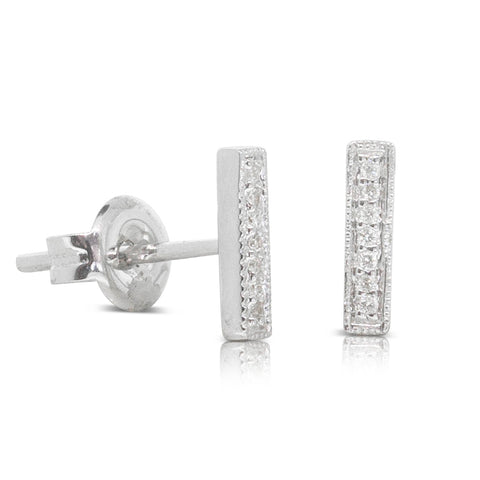 9ct White Gold .04ct Diamond Bar Stud Earrings - Walker & Hall