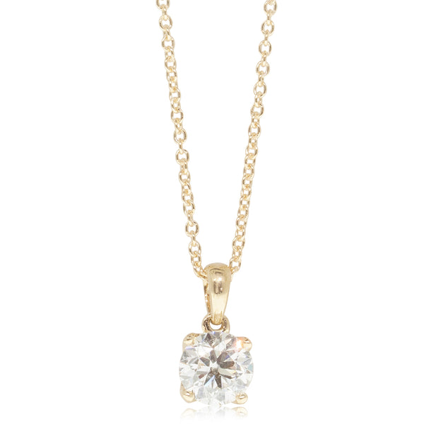 18ct Yellow Gold 1.00ct Diamond Blossom Pendant - Walker & Hall