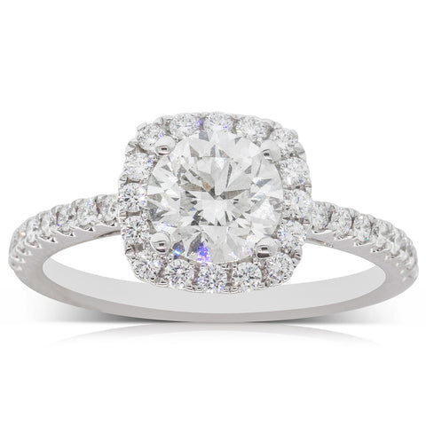 18ct White Gold 1.20ct Diamond Halo Ring - Walker & Hall