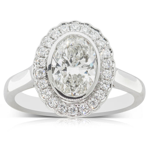 18ct White Gold 1.51ct Halo Diamond Ring - Walker & Hall