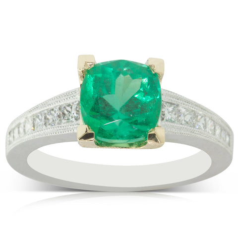 18ct White & Yellow Gold 2.22ct Emerald & Diamond Ring - Walker & Hall