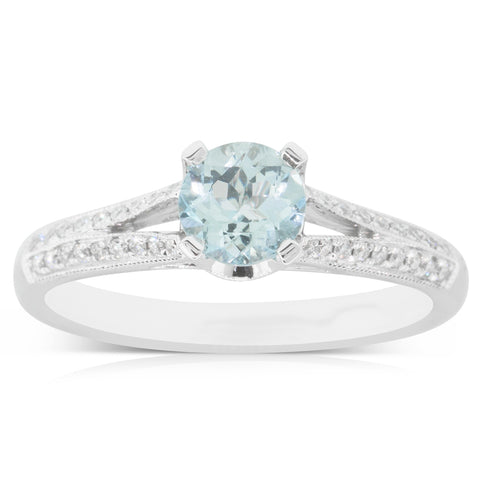 18ct White Gold .65ct Aquamarine & Diamond Eiffel Ring - Walker & Hall