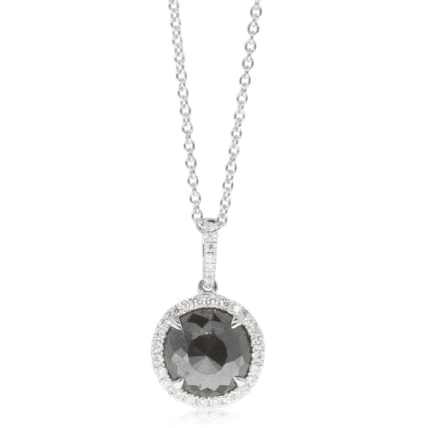18ct White Gold 1.67ct Black Diamond Halo Pendant - Walker & Hall