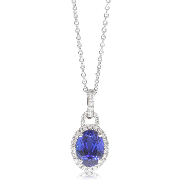 18ct White Gold 2.11ct Tanzanite & Diamond Halo Pendant - Walker & Hall