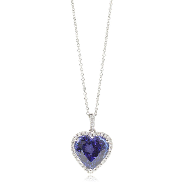 18ct White Gold 7.82ct Tanzanite & Diamond Halo Pendant - Walker & Hall