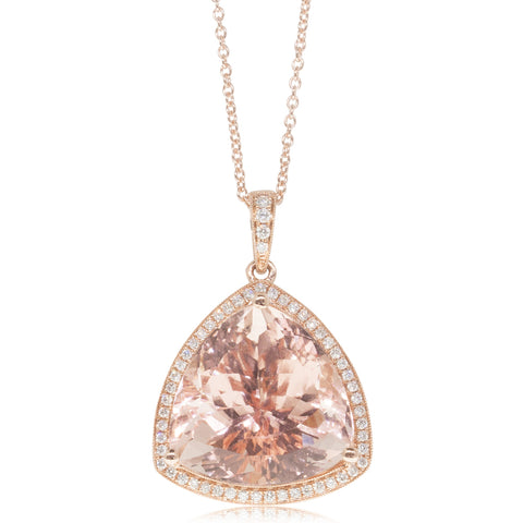 18ct Rose Gold 17.56ct Morganite & Diamond Halo Pendant - Walker & Hall