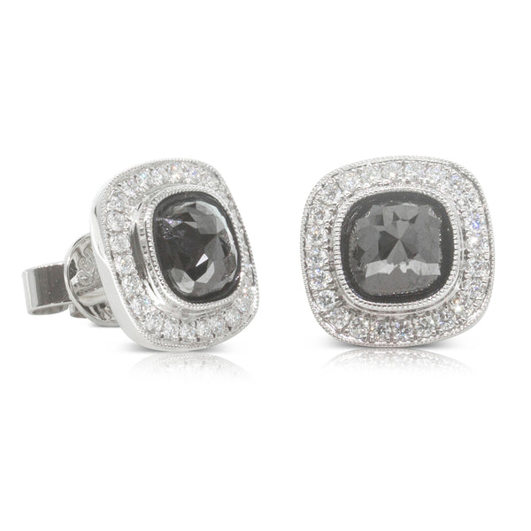 18ct White Gold 2.52ct Black Diamond Halo Earrings - Walker & Hall