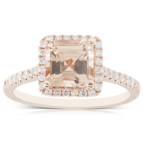 18ct Rose Gold 1.45ct Morganite & Diamond Halo Ring - Walker & Hall